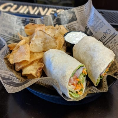 Humus Wrap served at brockway irish pub in carmel